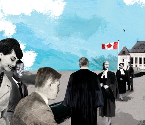 vintage style illustration of lawyers in robes in front of Supreme Court of Canada