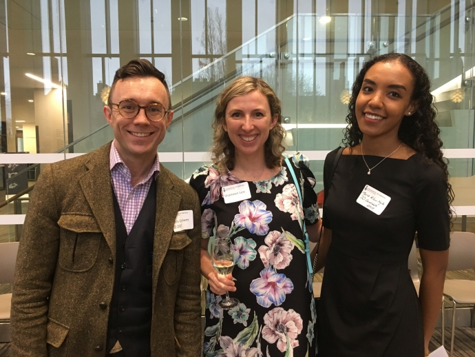 Alumni Chris Graham, and Shannon Leo with law student Marie Kiluu-Ngila