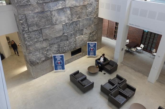 Intramural banners on display in Osler Atrium