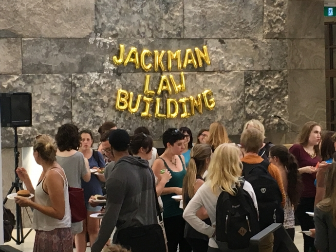 Group of law students in Atrium for welcome back BBQ