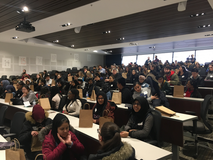 Students fill up the Moot Court Room as part of See Yourself Here