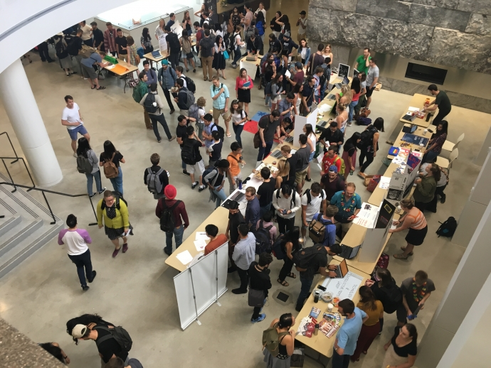 Wide shot from third level of the Clubs Fair, part of back to school programming at the Faculty of Law