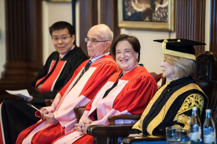 Prof. Albert Yoon, Hon. Frank Iacobucci, Justice Elena Kagan and Chancellor Rose Patten sitting together at Convocation ceremony