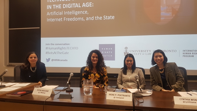 Farida Deif (moderator), Canada director at Human Rights Watch; Petra Molnar, technology and human rights researcher at the IHRP; Irene Poetranto, senior researcher at the Citizen Lab; and Cynthia Wong, internet and human rights researcher at Human Rights Watch