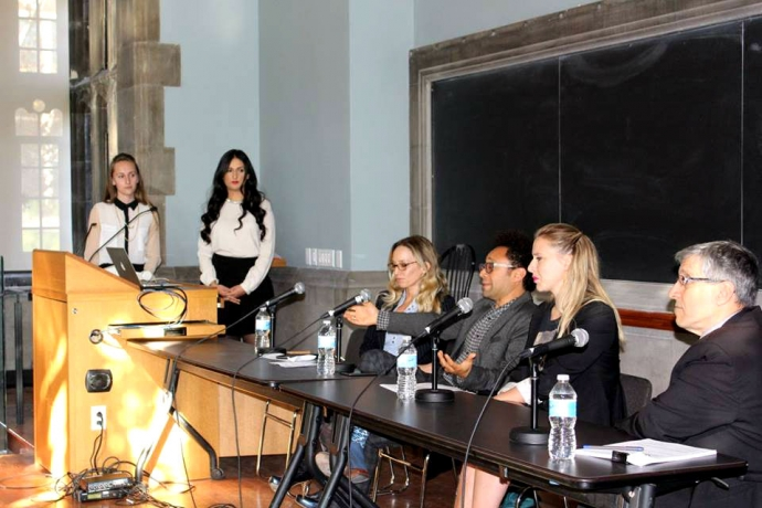 Fashion Law co-presidents introduce the panel