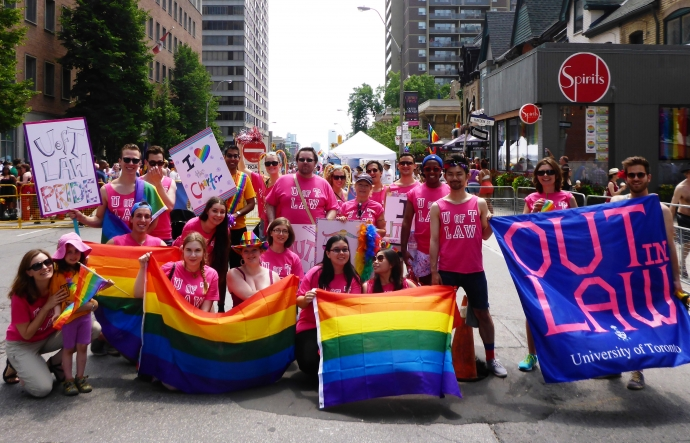 Faculty of Law's group photo at the 2014 Pride Parade