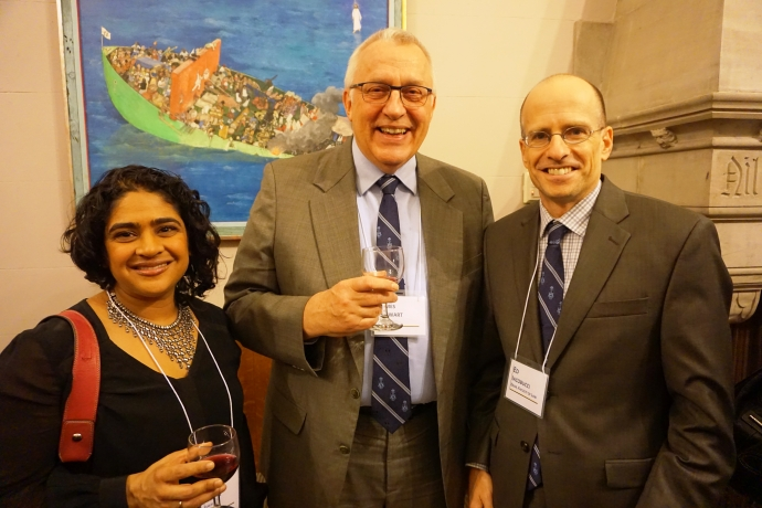 Renu Mandhane with alumnus and International Criminal Court deputy prosecutor James Stewart and Dean Ed Iacobucci