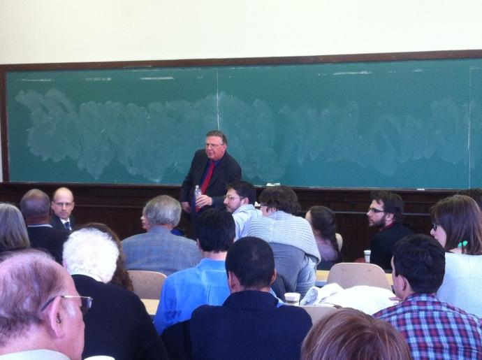 Professor Robert W. Gordon in front of audience