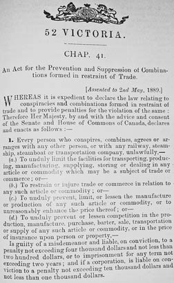 Canada's first (and the world's first) competition act: the Combines Act of 1889