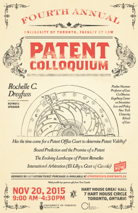 vintage style poster of patent law colloquium for 2015
