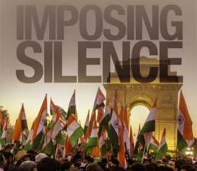 Report cover showing protestors with Indian flags