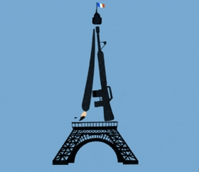 illustration of Eiffel tower, one side a fountain pen the other an automatic machine gun