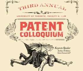Vintage style poster for the 2014 Patent Law Colloquium